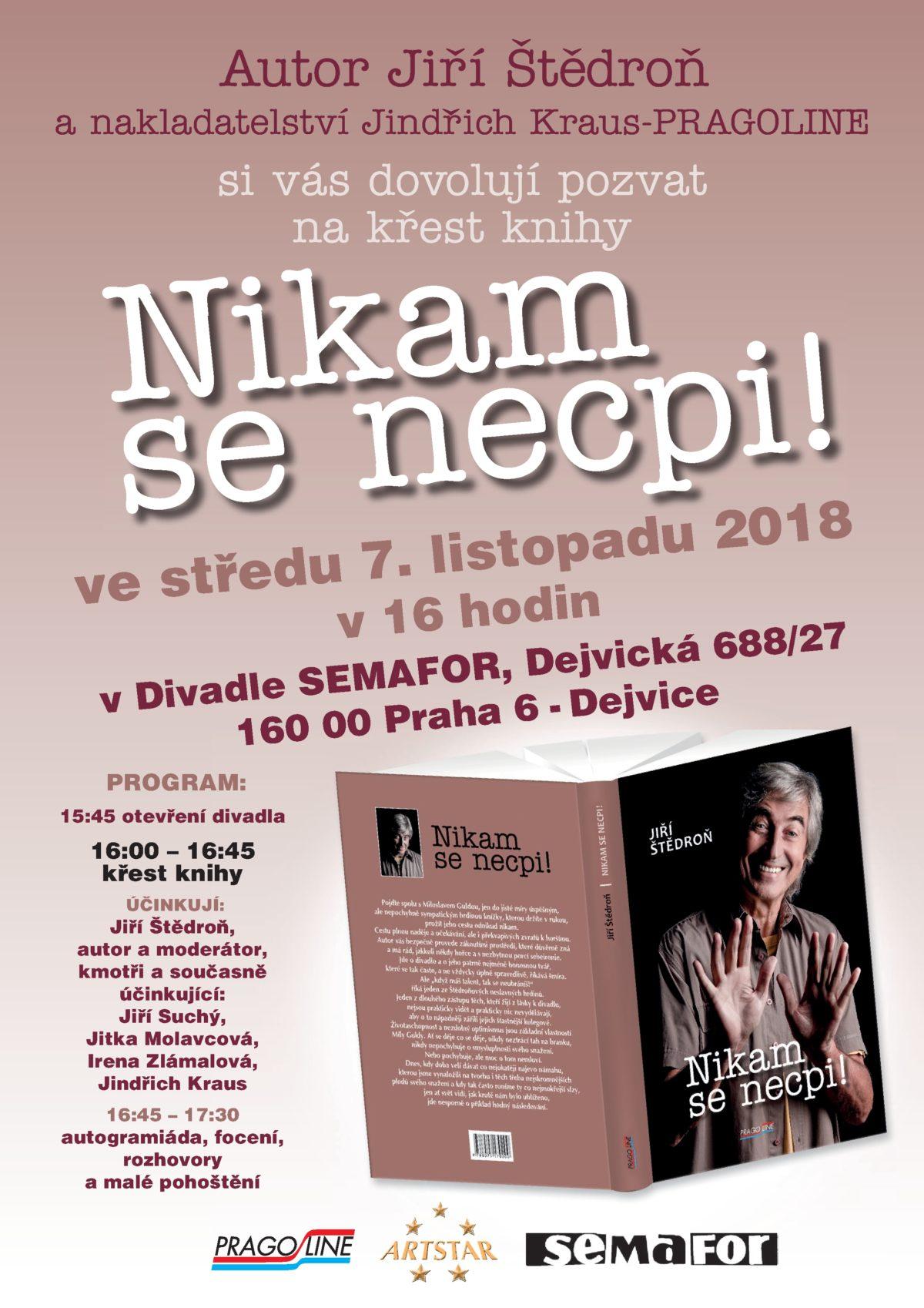 Jiří Štědroň pokřtí svou novou knihu v Divadle Semafor!