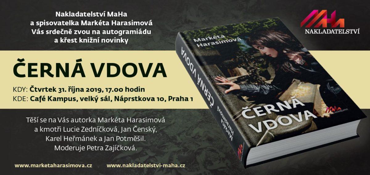 Křest románu Markéty Harasimové – Černá vdova